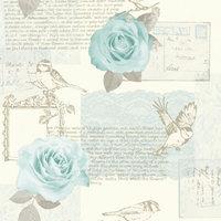 BEHANG 630404 roos blauw