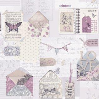 Scrapbook behang met romantische plaatjes Behangexpresse 23726 te bestellen op www.behanguitverkoop.nl