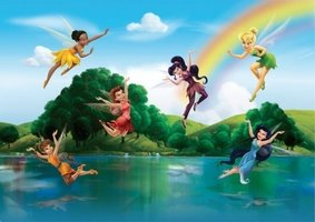 AG Design Fotobehang Disney Fairies with Rainbow FTD2222