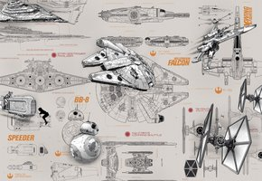 Star Wars Blueprints Fotobehang 8-493