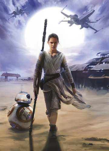 Fotobehang Starwars Luke Skywalker Rey Blue
