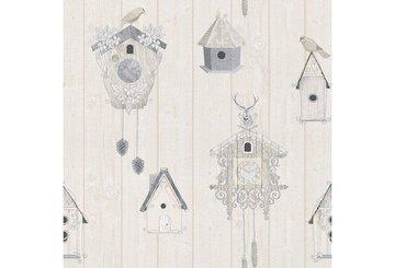 Vogelhuisjes behang 229011