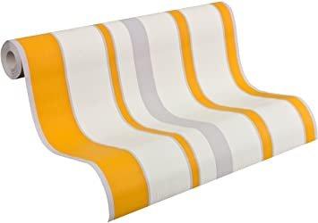 AS Creation Esprit Kids 3 oranje grijs wit strepen behang
