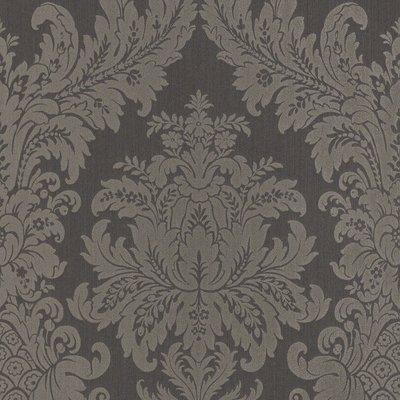 rasch textil exclusief barok keizerlijk antraciet met bruine ondertoon  echte stof op vlies