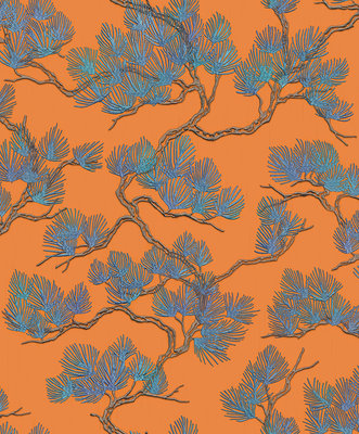 Dutch Wallcoverings Wall Fabric pine tree orange WF121016