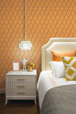 Dutch Wallcoverings Wall Fabric geometric orange  WF121026