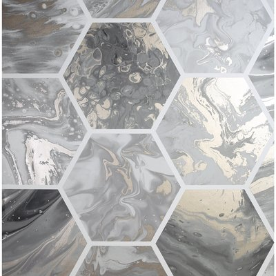 Arthouse Marbled Hex Charcoal/ Rose Gold Metallic 908502