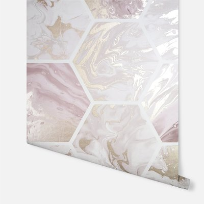 Arthouse Marbled Hex Pink/ Rose Gold Metallic     908506