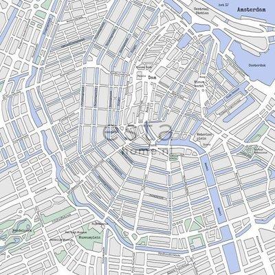Esta Photowall XL 157712 Street map Amsterdam