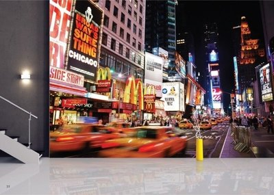 AG Design Fotobehang Yellow Cabs at Times Square