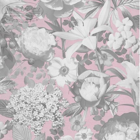 02507-10 vlies p+s romantic flower pink/grey