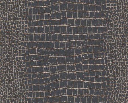 AS Creation Trendwall | 3710-03 / 371003 (Krokodillenleer zwart + goud)