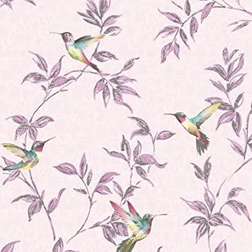 behang FD41925 roze met vogeltjes