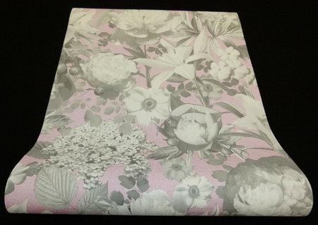 02507-10 vlies p+s romantic flower pink/grey
