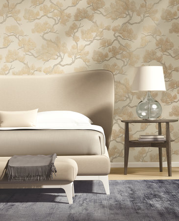 Dutch Wallcoverings Wall Fabric pine tree cream WF121012
