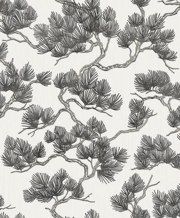 Dutch Wallcoverings Wall Fabric pine tree white/black WF121014