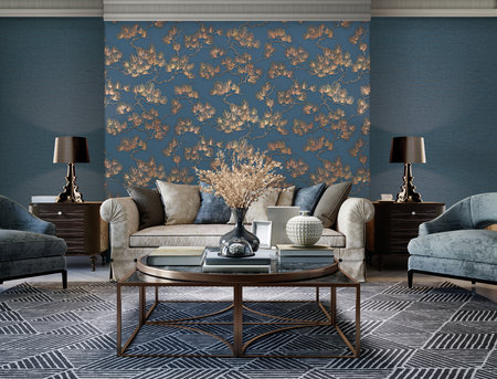 Dutch Wallcoverings Wall Fabric pine tree blue WF121017