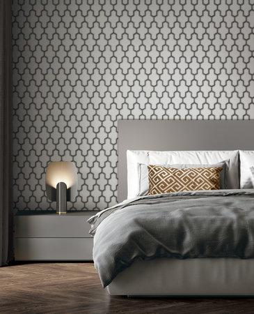 Dutch Wallcoverings Wall Fabric geometric white/black  WF121024