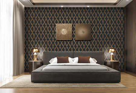 Dutch Wallcoverings Wall Fabric geometric black  WF121025