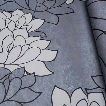 zilver grijs betonlook met zacht taupe bloemen vinyl op vlies