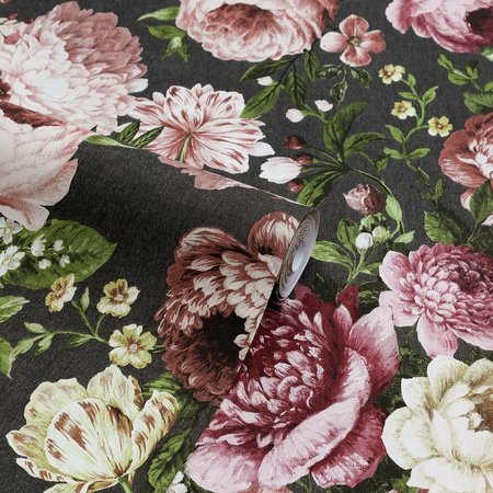 Arthouse Tapestry Floral Charcoal/Pink 297305