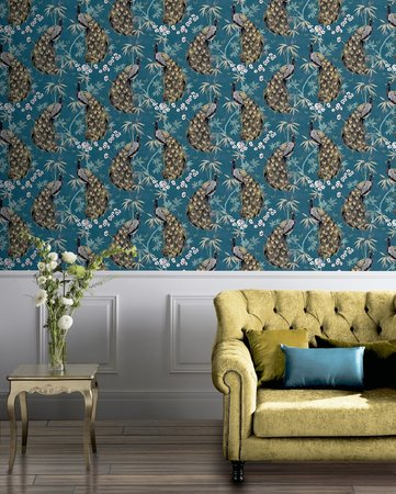 Arthouse Opulent Peacock Teal & Gold 692505