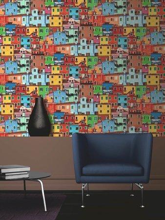 Dutch Replik behang J789-30 Kleurrijke huisjes