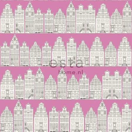 Esta Home Denim & Co. Amsterdam houses pink 137714
