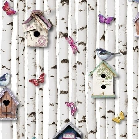 Muriva behang 102549 Bird Boxes Multi