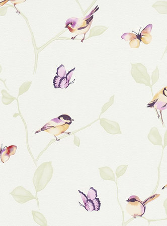 Erismann behang 6498-04 creme behang met vogeltjes