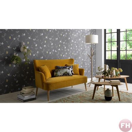 Erismann behang 6498-15 grijs behang met vogeltjes