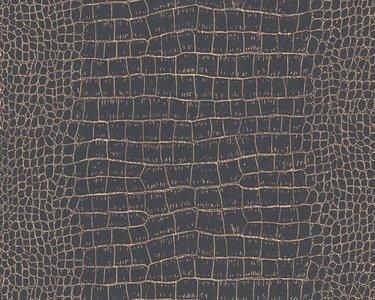 AS Creation Trendwall   3710-03 / 371003 (Krokodillenleer zwart + goud)
