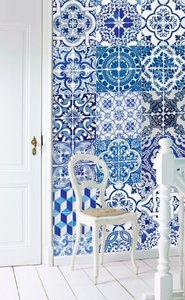 Esta Home Ginger behang Wallpaper XXL delft blue 158002