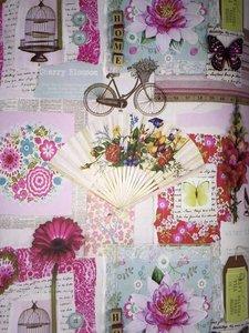 Scrapbook behang met romantische plaatjes Behangexpresse 23702